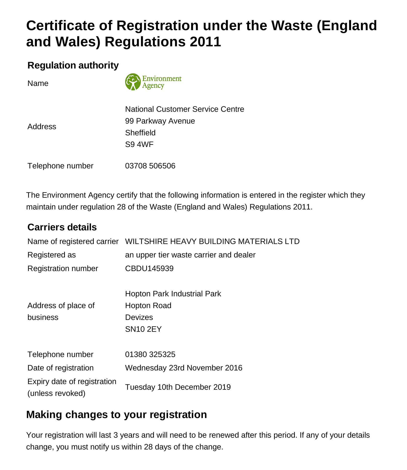 Waste Carrier Registration Certificate