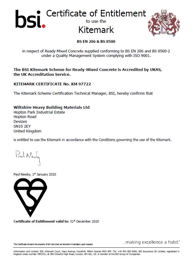 Wiltshire Concrete BSI Certificate 2020