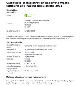 Waste Carrier Certificate 2022