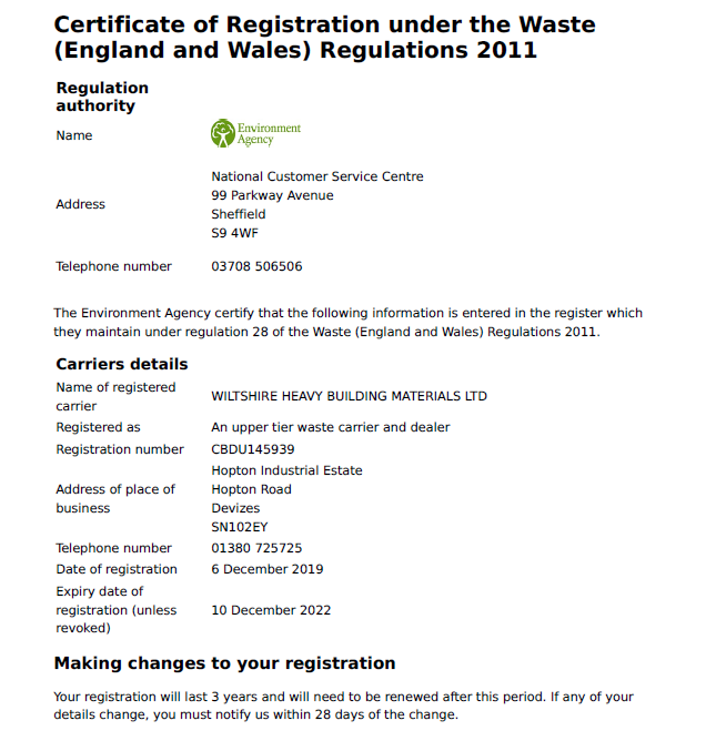 Waste Carrier Certificate 2022